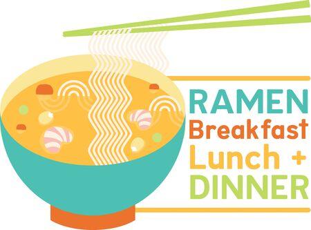 noodle soup: Winking bowl of ramen noodle soup with veggies, shrimp and chopsticks. Illustration