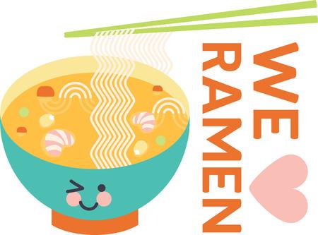 ramen: Winking bowl of ramen noodle soup with veggies, shrimp and chopsticks. Illustration