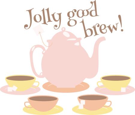 tea set: Pink tea set for those who like tea. Illustration