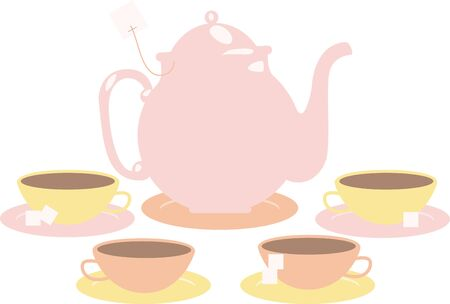 tea set: Pink tea set for those who like tea. Illustration