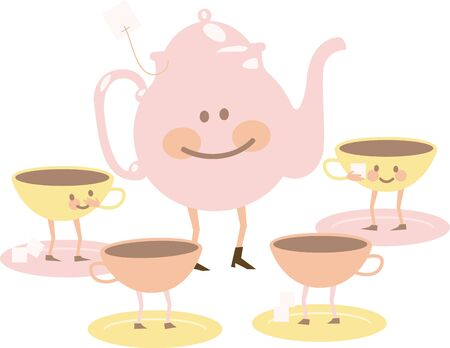 Cute pink tea set with happy faces.