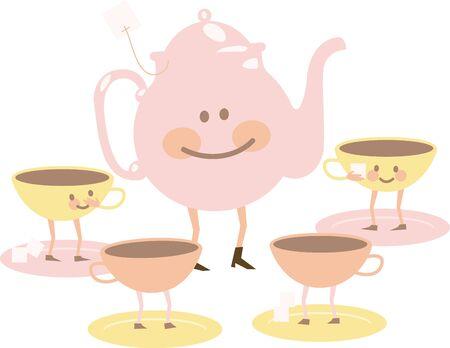 tea set: Cute pink tea set with happy faces.
