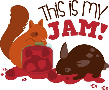 fruit jam: Squirrel and rabbit eating fruit jam.