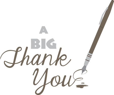 Make a thank you note extra special with this elegant pen. Ilustrace