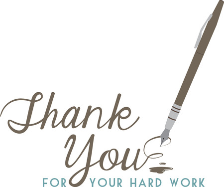 Make a thank you note extra special with this elegant pen. Illustration