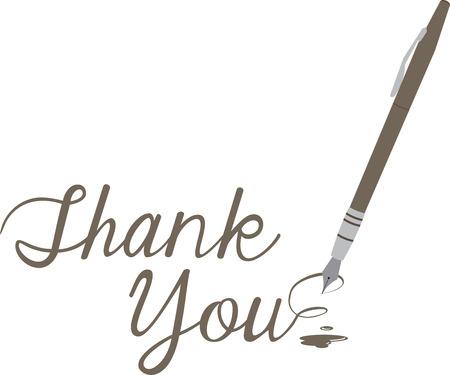 Maak een bedankje extra speciaal met deze elegante pen. Stock Illustratie