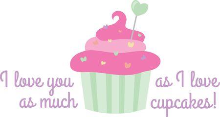 あなたのバレンタインにあなたを愛してと言っておいしいカップケーキを与えます。