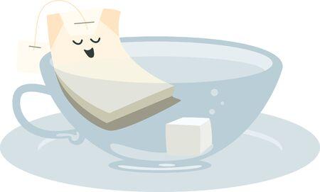 Cute steeping tea bag soaking in a cup. Çizim