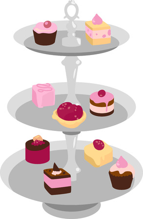 Tiered serving dish full of tea cakes.