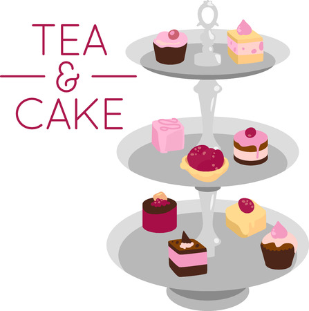 serving dish: Tiered serving dish full of tea cakes.