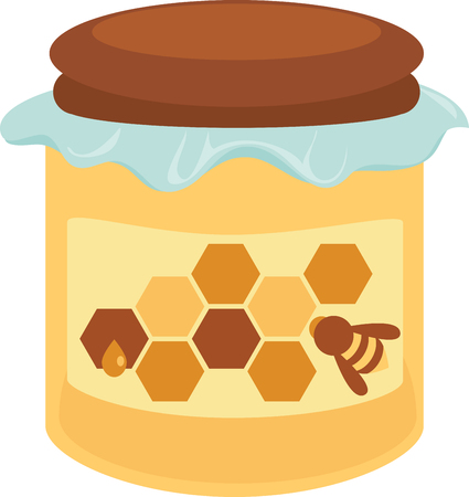 Jar of honey with a bee and honeycomb label.
