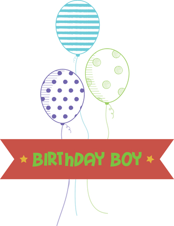 cheery: Our cheery balloons deliver a perfect birthday wish to a happy boy.  Stitch it on a birthday shirt for the party!
