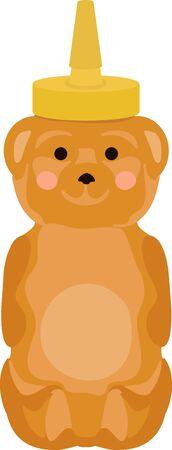 Cute honey bear bottle for sweethearts. Illustration