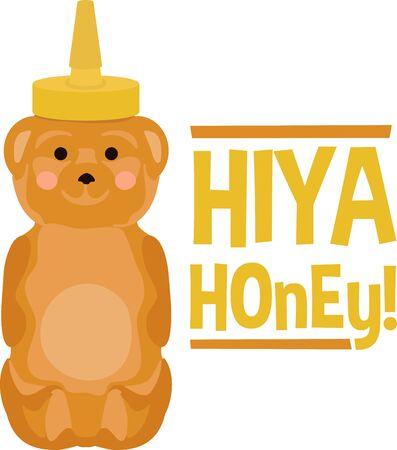 Cute honey bear bottle for sweethearts. Reklamní fotografie - 43967475