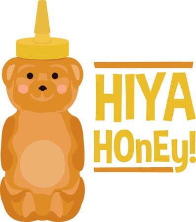 sweethearts: Cute honey bear bottle for sweethearts. Illustration