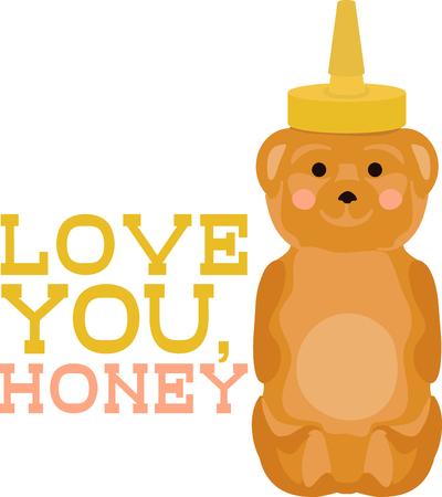 Cute honey bear bottle. Ilustrace