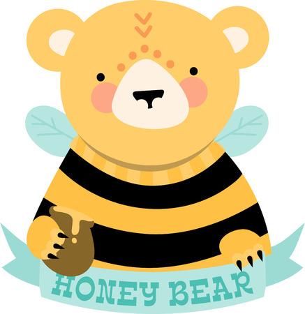 critter: Cute honey bear with blank ribbon caption. Illustration