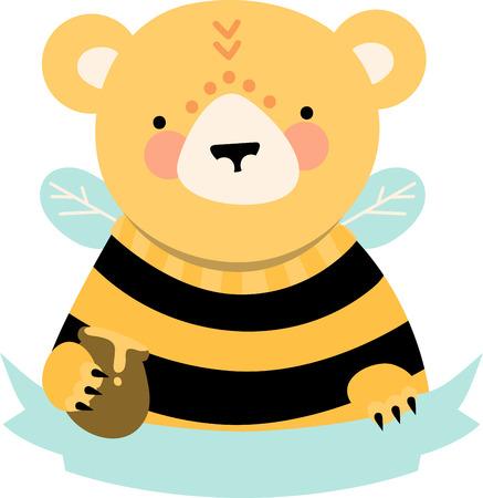 Cute honey bear with blank ribbon caption. Çizim