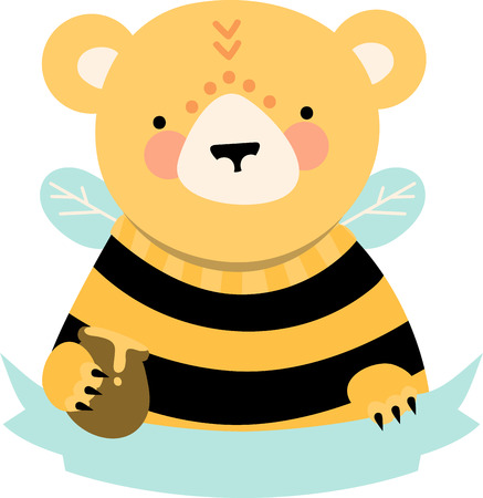 caption: Cute honey bear with blank ribbon caption. Illustration