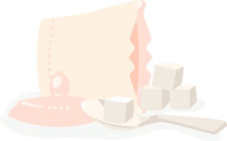 sugar cube: Spilled bowl of sugar cubes. Illustration