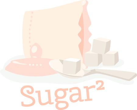 Spilled bowl of sugar cubes. Ilustrace