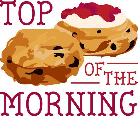 scone: Sliced breakfast scone halves.