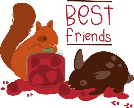 Squirrel and rabbit eating fruit jam.