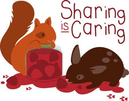 Squirrel and rabbit eating fruit jam. Stok Fotoğraf - 42342807