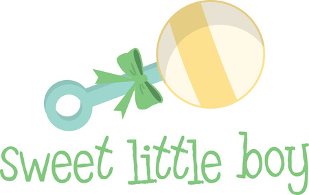 A lovely rattle will make a great new baby design. Ilustracja
