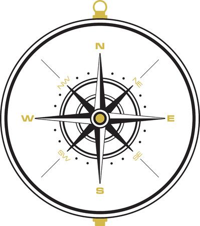 Een mooie kompas voor de richting te gaan. Stock Illustratie