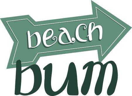 bum: A great beach design. Illustration