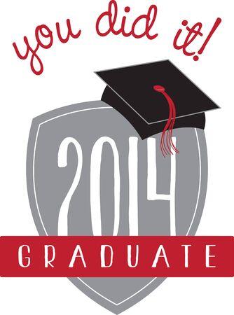 好きな学生の素晴らしい卒業の贈り物をします。  イラスト・ベクター素材