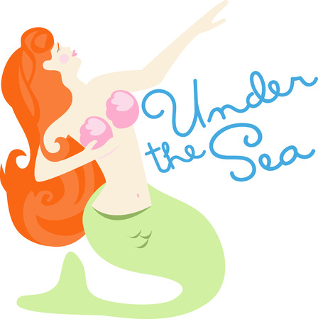 Under the sea is where this lovely mermaid lives.  Bring her into your home by using this design to embellish your bath linens. Illustration