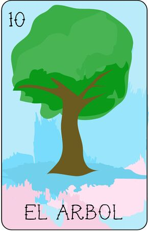 Our colorful collection of loteria cards features the entire collection of all the famous characters.  This is card 10 of the set featuring El Arbol, an elegant tree. Illustration