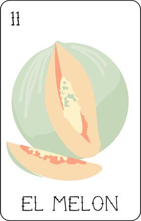 loteria 카드의 우리의 다채로운 컬렉션은 모든 유명한 문자의 전체 컬렉션을 갖추고 있습니다. 이 엘 멜론, 맛있는 과일을 갖춘 세트의 카드 (11)