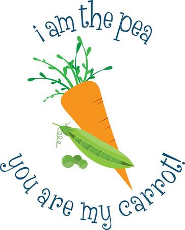 Gebruik deze wortel en erwten voor een baby shirt of een keuken project. Stock Illustratie