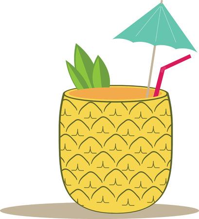 tropical drink: Dale sabor a un proyecto de verano el tiempo con una bebida tropical. Vectores