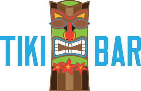 tiki,statue,Hawaiian,cultural,tropical,native,flower,floral,plant,bloom,blossom Иллюстрация