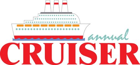 Een cruise is het perfecte ontwerp voor een vakantie project. Stock Illustratie