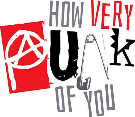 펑크 단어와 음악 팬들을위한 기호. 일러스트