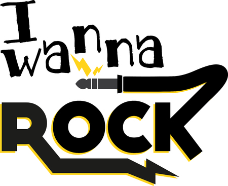 Rock word and symbols for music fans.