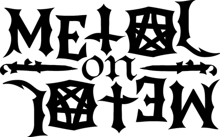 heavy metal: Metal word and symbols for music fans.