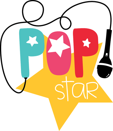 Pop word and symbols for music fans. Ilustração