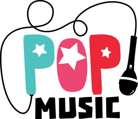 Pop woord en symbolen voor muziekliefhebbers.