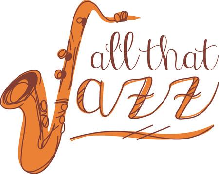 Jazz word and sax for music fans. Ilustração