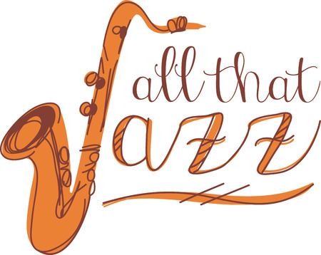 genre: Jazz word and sax for music fans. Illustration