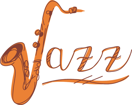 woodwind: Jazz word and sax for music fans. Illustration