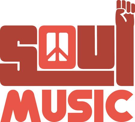 음악 팬을위한 영혼의 단어와 기호.