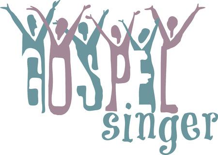 Gospel woord en prees koor voor muziekliefhebbers. Vector Illustratie