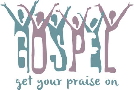 Gospel word and praising choir for music fans.